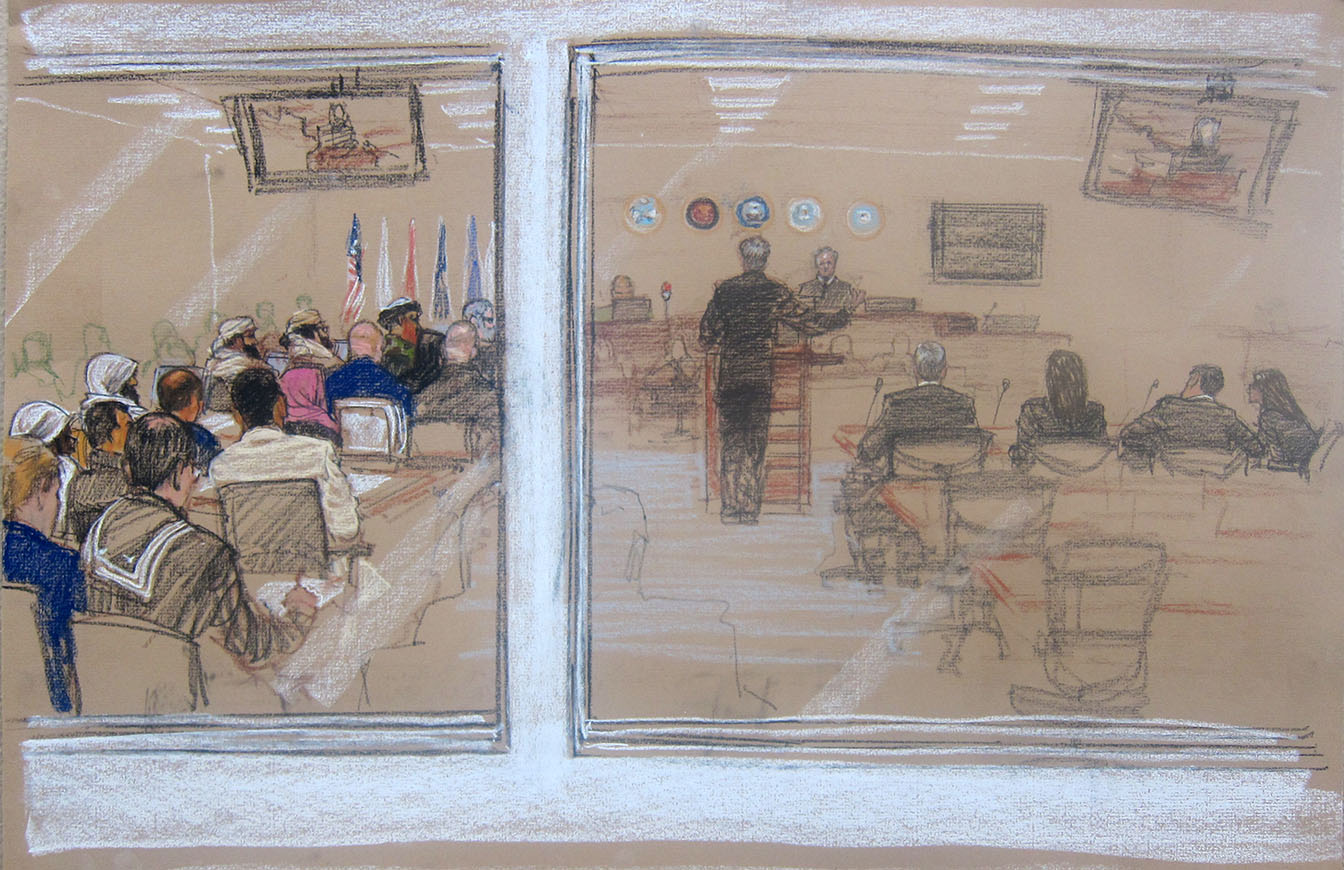 In this Pentagon-approved sketch by court artist Janet Hamlin, the Sept. 11 accused co-conspirators attend a pretrial hearing at the Guantanamo Bay U.S. Naval Base in Cuba, Monday, June 16, 2014. David Nevin, defense council for Khalid Sheik Mohammad is at podium addressing presiding Judge James Pohl. The accused, right to left: Khalid Sheikh Mohmmad, Walid bin Attash, Ramzi bin al shibh, Aziz Ali, Mustafa al Hawsawi. Lawyers for Guantanamo prisoners charged in the Sept. 11 attack say the FBI has questioned more people who work as support staff on their legal teams than previously disclosed, a development that may prompt a new detour in an already snarled case as the war crimes tribunal reconvened Monday at this U.S. base.  (AP Photo/Janet Hamlin, Pool)